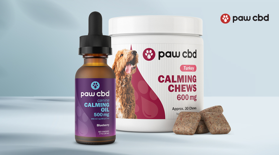 Several products from paw cbd for dogs sit against a white background